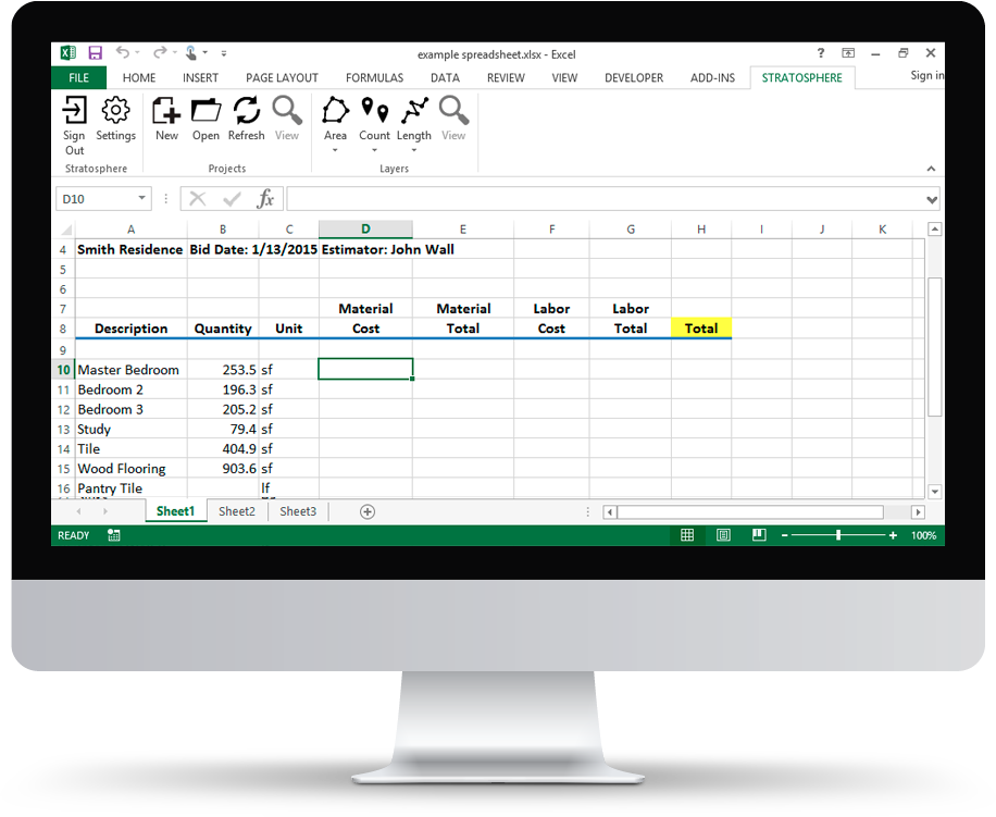 Stratosphere cloud based blueprint takeoffs and markup bid with confidence with our excel integration malvernweather Choice Image